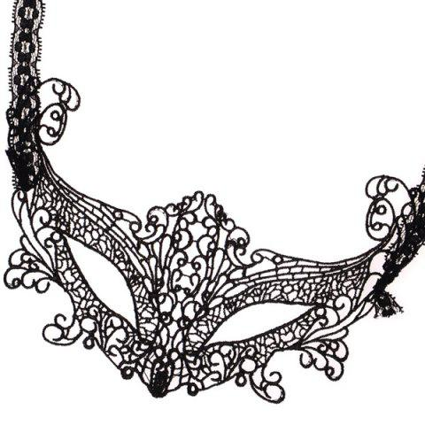 Buy Gothic Style Fox Shape Lace Party Mask - BLACK  Mobile