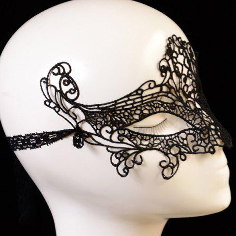 Cheap Gothic Style Fox Shape Lace Party Mask - BLACK  Mobile