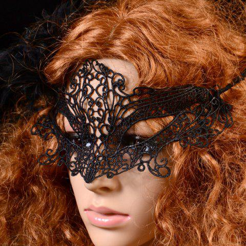 Trendy Gothic Style Fox Shape Lace Party Mask - BLACK  Mobile