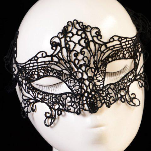 Fashion Gothic Style Fox Shape Lace Party Mask - BLACK  Mobile