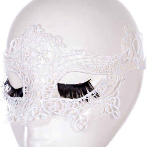 Sale Gothic Style Fox Shape Lace Party Mask - WHITE  Mobile