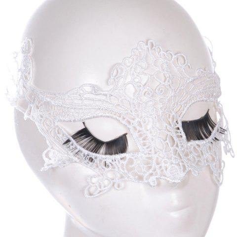 Cheap Gothic Style Fox Shape Lace Party Mask WHITE