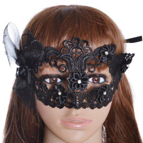 Chic Gothic Style Rhinestone Rose Lace Party Mask - BLACK  Mobile