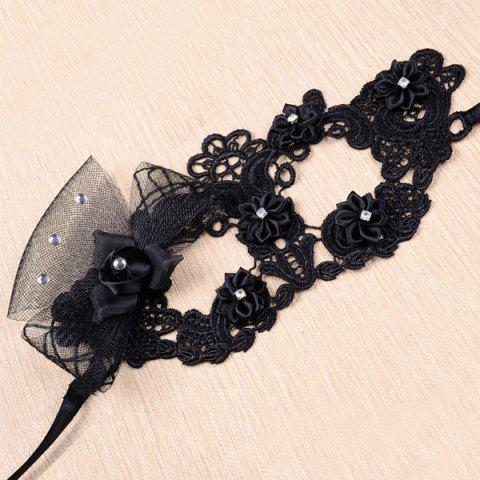 Outfit Gothic Style Rhinestone Rose Lace Party Mask - BLACK  Mobile