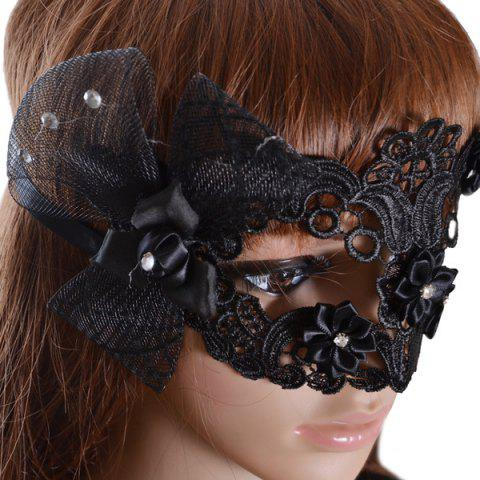 Trendy Gothic Style Rhinestone Rose Lace Party Mask - BLACK  Mobile