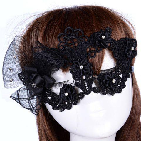 Buy Gothic Style Rhinestone Rose Lace Party Mask - BLACK  Mobile