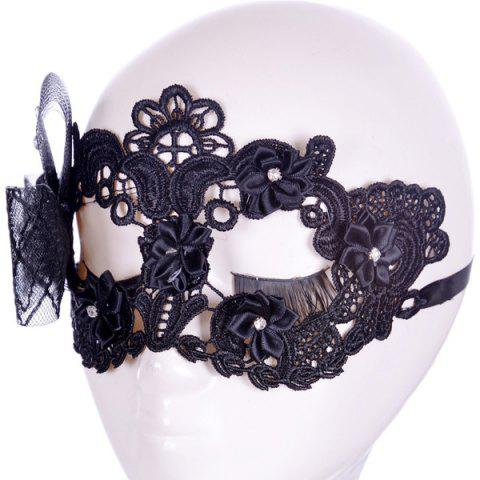 Fashion Gothic Style Rhinestone Rose Lace Party Mask - BLACK  Mobile