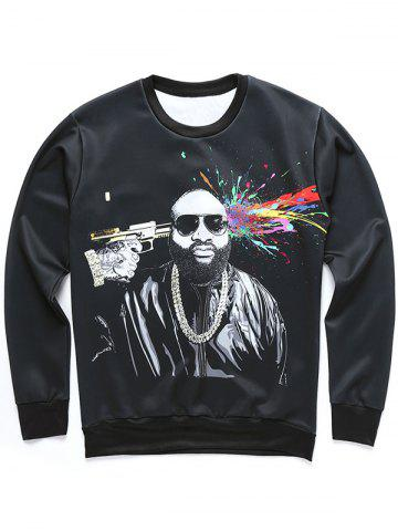 Hot 3D Figure and Splatter Paint Print Sweatshirt