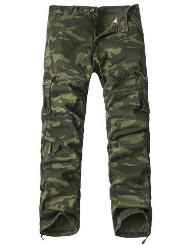 Best Multi-Pocket Drawstring Hem Zipper Fly Camo Cargo Pants ARMY GREEN CAMOUFLAGE 38