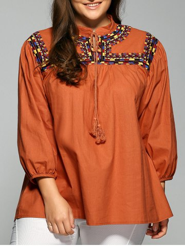 Discount String Printed Fringed Blouse