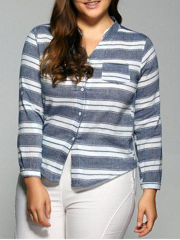 Fashion Striped Pocket Casual Shirt