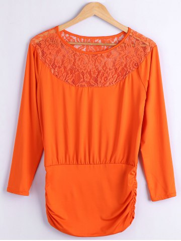 Outfit Lace Spliced Fitting Blouse