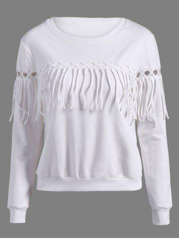 Outfit Cut Out Fringed Sweatshirt