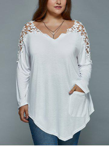 Outfits Plus Size Lace Insert Long Sleeve Tunic T-Shirt - 2XL WHITE Mobile