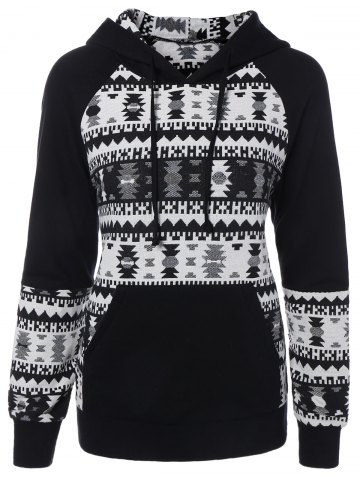 Geometric Pattern Front Pocket Hoodie - White And Black - M