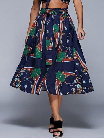 Unique Single-Breasted Printed Skirt