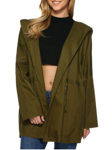 Cheap Hooded Drop Shoulder Loose Trench Coat