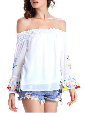 Discount Off The Shoulder Bell Sleeve Embroidery Blouse