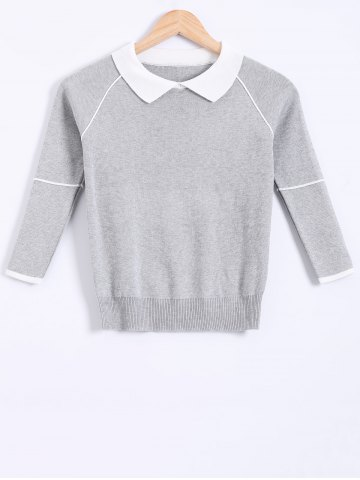 Fancy Peter Pan Collar Splicing Knitwear