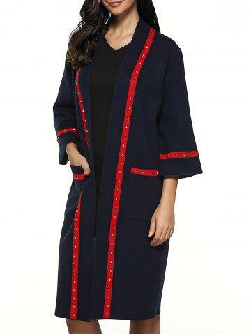 Affordable 3/4 Sleeve Rivet Embellished Overcoat