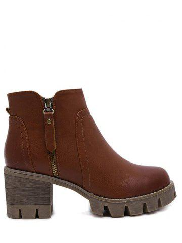 Online Chunky Heel Double Zips Ankle Boots - 39 BROWN Mobile