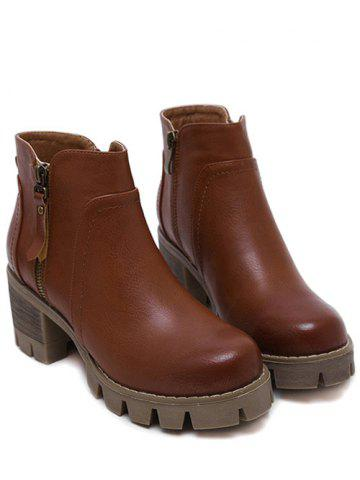 Hot Chunky Heel Double Zips Ankle Boots - 39 BROWN Mobile