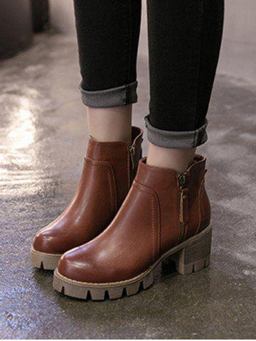 Trendy Chunky Heel Double Zips Ankle Boots - 39 BROWN Mobile