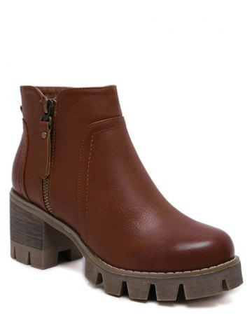 Fancy Chunky Heel Double Zips Ankle Boots - 39 BROWN Mobile