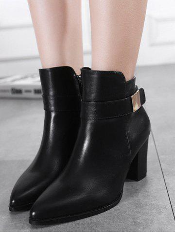 Sale Metal Pointed Toe Chunky Heel Boots - 39 BLACK Mobile