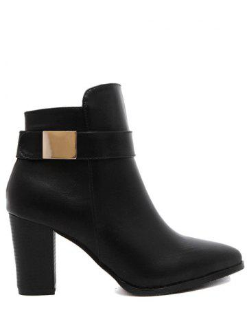 Latest Metal Pointed Toe Chunky Heel Boots - 39 BLACK Mobile