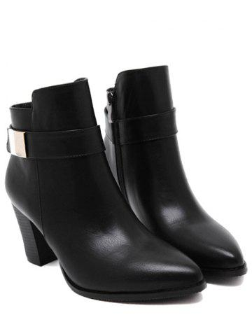 Chic Metal Pointed Toe Chunky Heel Boots - 39 BLACK Mobile