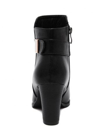 Outfits Metal Pointed Toe Chunky Heel Boots - 39 BLACK Mobile