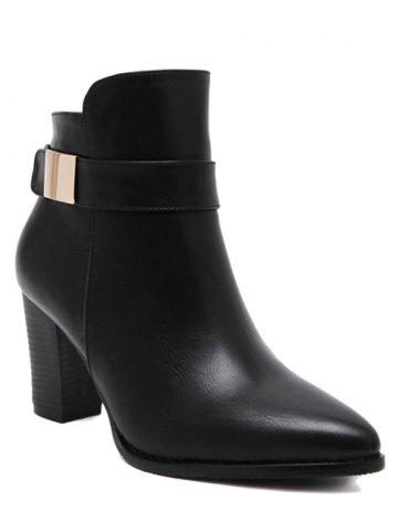 Chic Metal Pointed Toe Chunky Heel Boots - 38 BLACK Mobile
