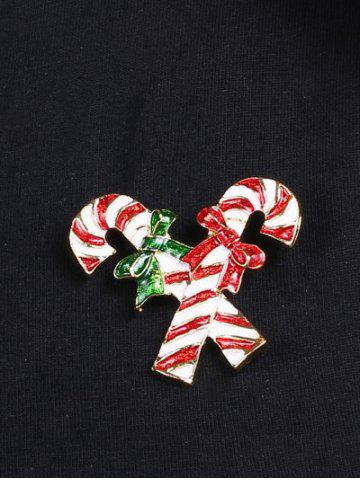 Outfits Alloy Candy Cane Bows Christmas Brooch - GOLDEN  Mobile