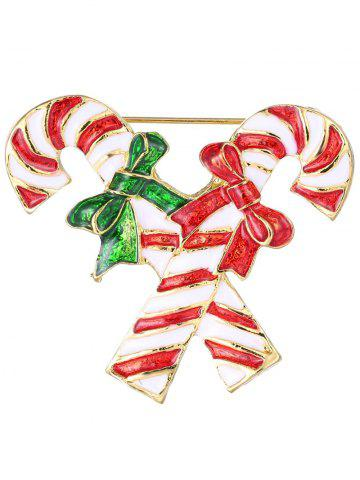 Shops Alloy Candy Cane Bows Christmas Brooch - GOLDEN  Mobile