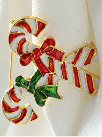Fancy Alloy Candy Cane Bows Christmas Brooch - GOLDEN  Mobile