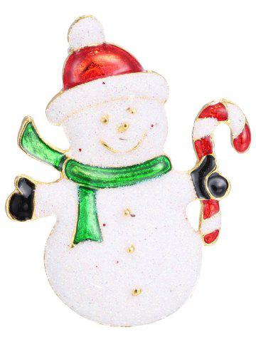 Outfits Alloy Snowman Christmas Candy Cane Brooch - WHITE  Mobile
