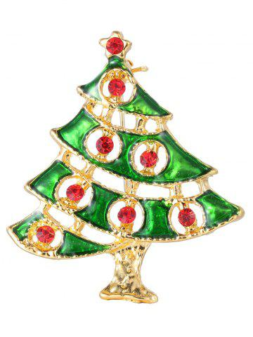 Fancy Rhinestone Alloy Pentagram Christmas Tree Brooch