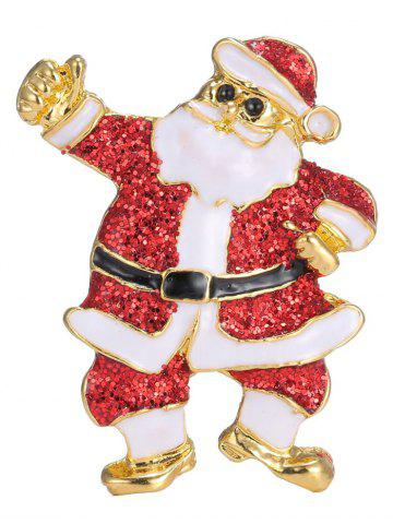 Trendy Alloy Sequins Santa Christmas Brooch - RED  Mobile