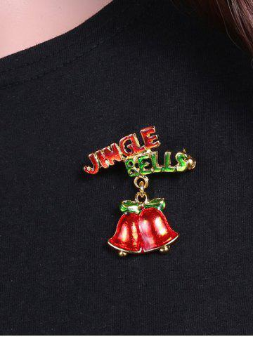 Outfits Alloy Jingle Bells Bows Christmas Brooch - GOLDEN  Mobile