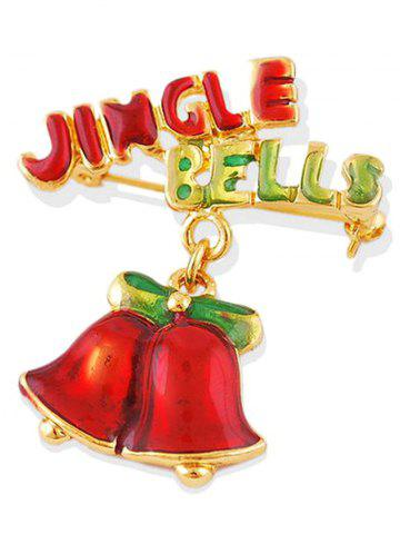 New Alloy Jingle Bells Bows Christmas Brooch - GOLDEN  Mobile