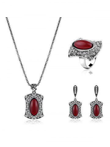 Outfits Rhinestone Faux Ruby Jewelry Set