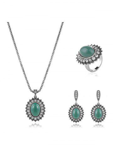 Trendy Faux Emerald Rhinestone Geometric Jewelry Set GREEN ONE-SIZE