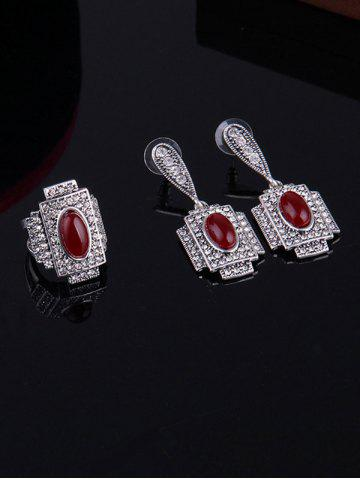 Latest Faux Ruby Rhinestone Geometric Jewelry Set - ONE-SIZE RED Mobile