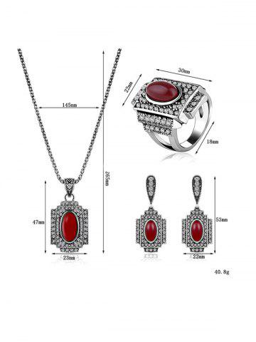 Affordable Faux Ruby Rhinestone Geometric Jewelry Set - ONE-SIZE RED Mobile