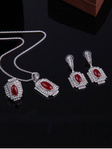 Outfit Faux Ruby Rhinestone Geometric Jewelry Set - ONE-SIZE RED Mobile