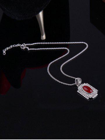 Online Faux Ruby Rhinestone Geometric Jewelry Set - ONE-SIZE RED Mobile