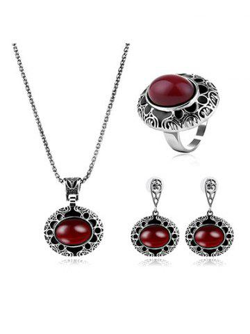 Outfit Faux Ruby Gemstone Etched Flower Jewelry Set