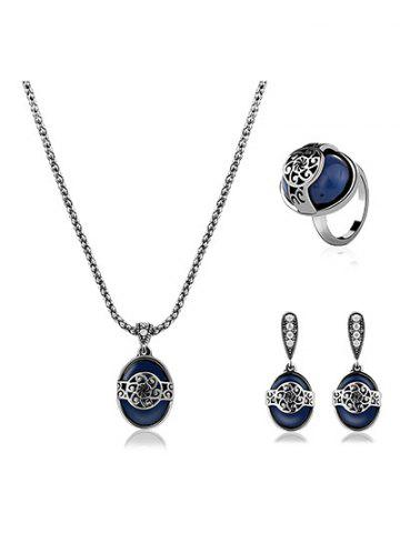 Online Faux Sapphire Engraved Flower Jewelry Set