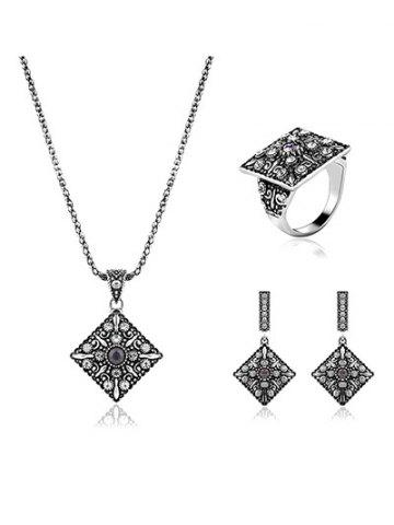 Latest Vintage Alloy Rhinestone Geometric Jewelry Set